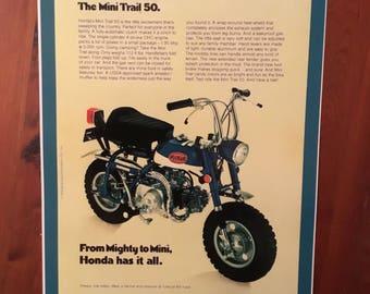 Vintage Honda mini trail 50 reproduction poster