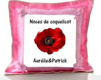 Cushion Pink personalized with name poppy wedding
