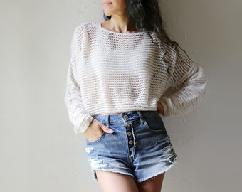 I Magnin Marcasiano Open Knit Cropped Cotton Sweater, L