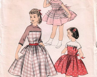 1950s Advance 8091 Vintage Sewing Pattern Girl's Party Dress, Full Skirt Dress Size 12