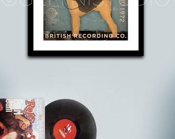 AIREDALE records dog music graphic art illustration archival giclee print by stephen fowler