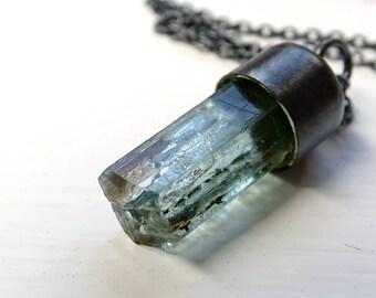 raw aquamarine necklace, aquamarine crystal pendant, rough aquamarine pendant, men crystal necklace, march birthstone gift for women