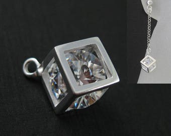 Sterling Silver Charms-Unique Charm-Cube Charm-Box Charm-Cube With CZ Stone-Sterling Silver Diamond Cube-Jewelry Findings(1 pc) SKU:201228