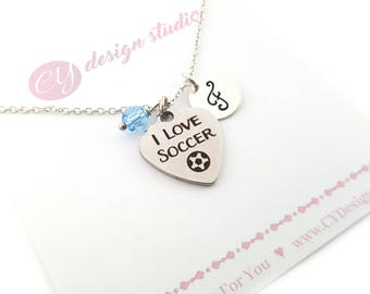 I Love Soccer-  Birthstone Necklace - Personalized Initial Necklace - Sterling Silver Jewelry - Gift for Her