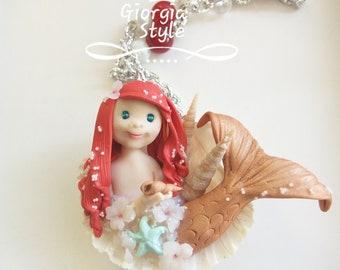 Little Mermaid Necklace-OOAK Art Doll in synthetic paste
