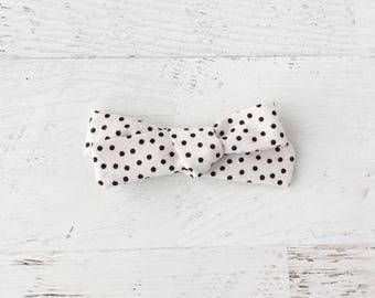 Baby Bow, Hand Tied Bow, Hair Bow, Nylon Baby Headband, Clip on Bow, Fabric Bow, Bow Headband, School Girl Bow, Monochrome, Polka Dots