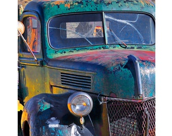 Old Truck Photograph, Rusty Old Truck, Manly Decor, Rustic Decor, Boys Room, Country Decor,Vintage Truck Art Print,Wall Art,Teal,Yellow,Red,