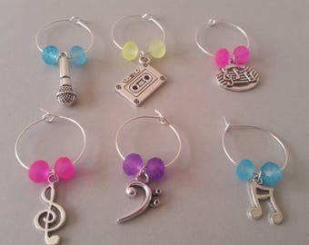 Set of 6 brand - Place for glass - Theme: music / wedding, party, ceremony, birthday