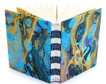 Marbled Journal gold/blue/magenta/aqua - French Link - 144 unlined pages - Handmade by Ruth Bleakley - each book has unique cover pattern