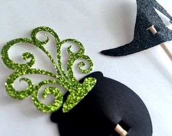 Halloween, Witch Hats, Cauldron Cupcake Toppers - Set of (12)
