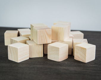 40 pieces of Wooden cubes. Kid toys. Wood blocks. Available costum order. unfinished wood blocks. Solid Wood Blocks. Natural Wood Blocks