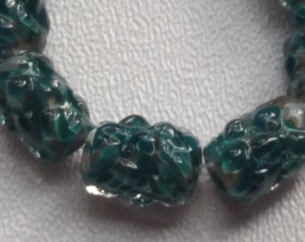 Lampwork Cylinder Beads Teal with Raised Dots LS06
