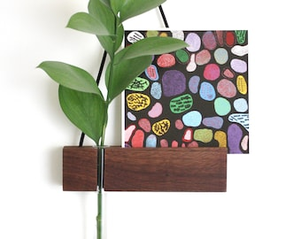 Hanging vase, hanging frame, photo frame, test tube vase, reclaimed wood, minimalist, wall vase