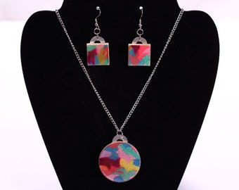 Abstract Jewelry Set Original Art - Earrings, Necklace, Industrial, Multicolor, Pink, Purple, One of a Kind, ooak, FINAL CLEARANCE 75% OFF