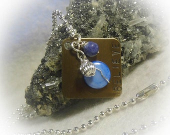 Bronze Believe Hand Stamped Square Wire Wrapped Necklace Silver Aluminum