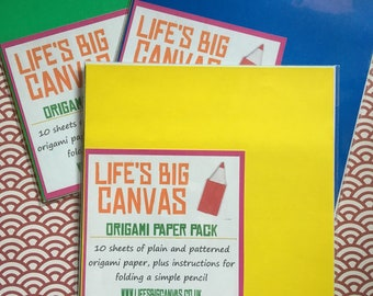 Origami paper pack including instructions - heart, box or pencil