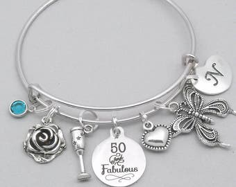50th Birthday charm bangle bracelet | personalised 50th bracelet | 50th birthday gift | 50th girly gift | gift for her 50 | 50 and fabulous