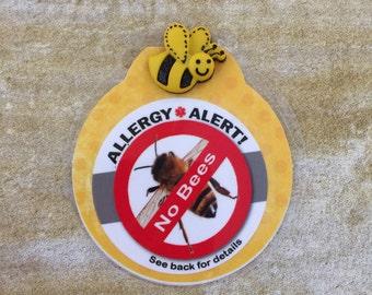 Bee Allergy Alert (AlleAlert) Pin or Tie-on.