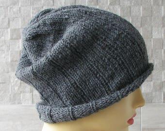 Mens slouchy beanie, Grey Wool Winter hat