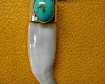 """Large .925 Sterling Silver capped 3"""" tooth with a beautiful Kingman Turquoise Pendant"""
