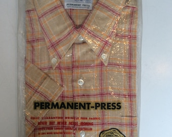 1960s-70's men's shirt in original packaging - Fruit of the Loom vintage checkered shirt