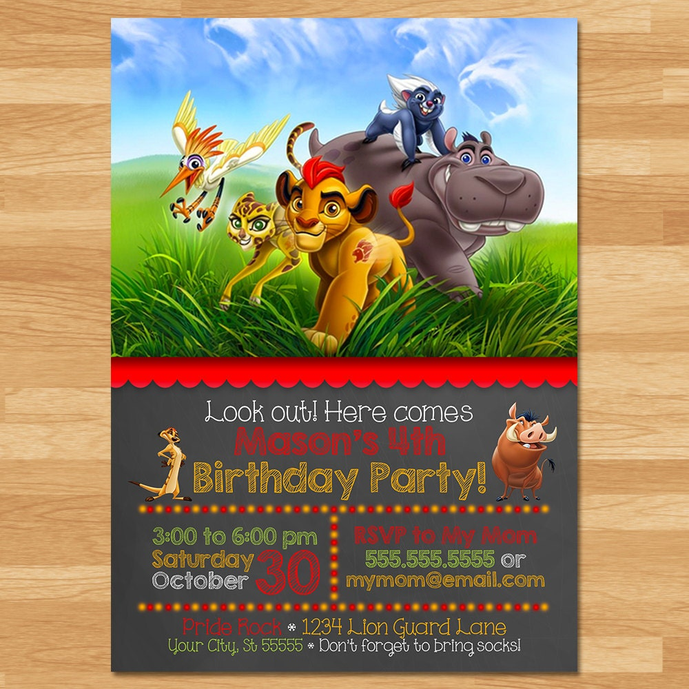The Lion Guard Invitation Chalkboard Lion Guard Invite