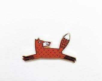 Leaping Fox Enamel Pin