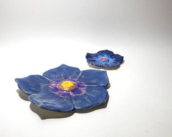 A Set of blue Ceramic flower sculpture, ring dish, Home Decor, Ceramics and Pottery, Wedding gift, birthday gift, Made from UK