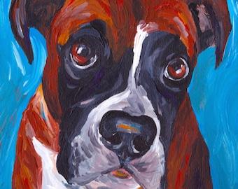 Boxer art print from original boxer painting colorful boxer dog art
