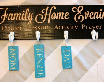 Family Home Evening (FHE) wood carved sign