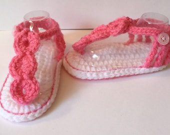 Adorable Handmade Crochet Scallop Sandals - Any Colo Combo 0-12 Months