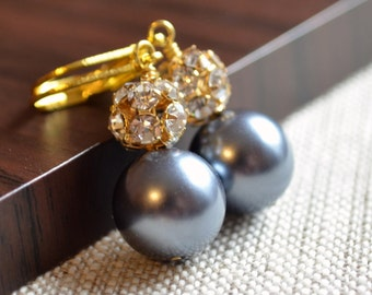 Glass Pearl Earrings, Bridal Jewelry, Tahitian Charcoal Grey, Gold Plated, Drops, Lever Back Earwires, Rhinestone Crystal, Affordable