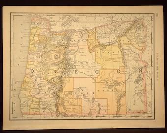 Antique Oregon Map Oregon Original Hand Colored