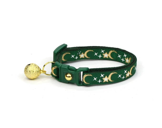 Moon Cat Collar - Gold Moons and Stars on Emerald Green - Breakaway Cat Collar - Kitten or Large size - Glow in the Dark