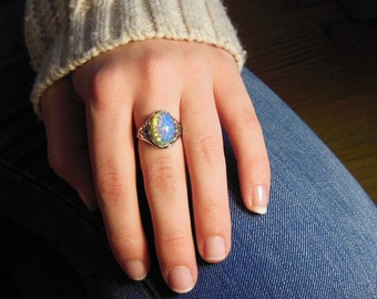 Blue fire opal ring, Opal ring, opal jewelry, rings with opals, Silver Opal Ring, Opal Ring Vintage look, October birthstone, Promise Rings