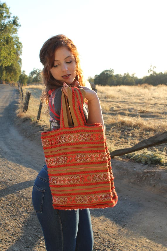 ARROW  Embroidered Burlap Bag Vintage 1970's Boho Handbag Hippie Tote