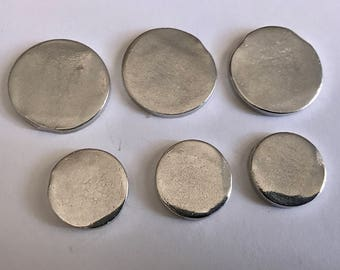 Pewter Stamping Blanks - Pewter Disc - Hand Cast Disc - 1 inch pewter disc and 3/4 Inch - organic blanks - set