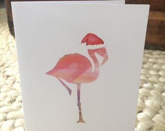 Christmas flamingo card