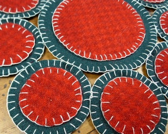 Sweet Penny Folk Art Penny Rug by Just Pennies by Linda - Christmas - FINISHED Candle/Penny Mat