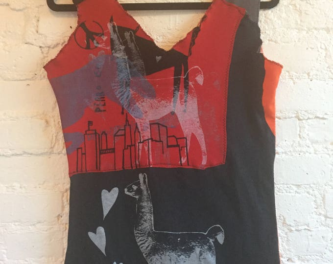 One of a kind Awesome Tank top, multi - printed fabrics and patch FREE shipping
