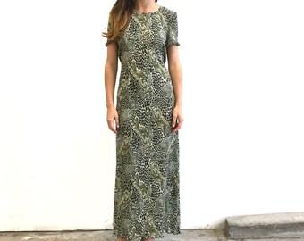 SALE- Vintage 90s Animal Print Pleated Maxi Dress- Size S- Medium M