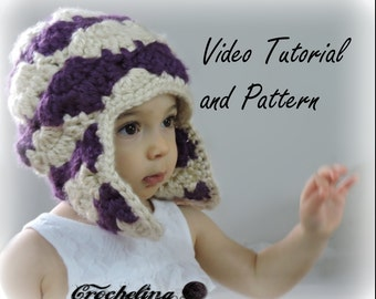 Video Tutorial and Pattern : Toddler Bloom Stitch Ear Flap Winter Hat Crochet Pattern