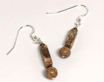 Brown and Tan Earrings, Jasper Earrings