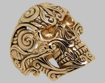 Gold skull ring Etsy