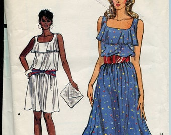 Vogue Dress Pattern 8664  Flared Skirt  1990s Womens Sewing Patterns Summer Dress Size 6-10, uncut