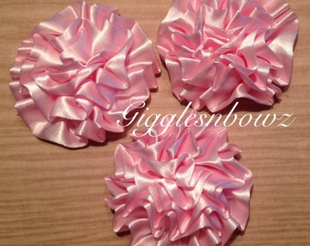Set of 3 PINK Satin Rosettes Puff Flowers