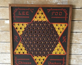 Vintage Retro Chinese Checker Board 1930's Rare Made In The USA
