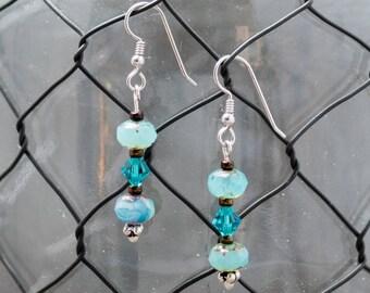 Dangle Czech glass and Swarovski Bead Earrings