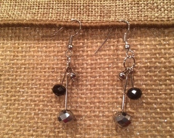 Black and Silver Dangle Drop Earrings Gracefull Earrings Handmade Earrings Unique Earrings Gift for her Free US Shipping
