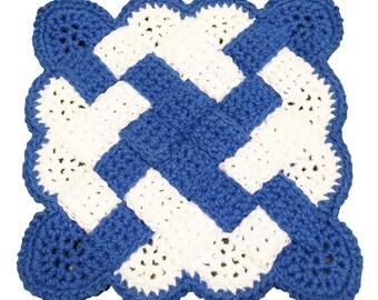 Blue & White Potholder, Kitchen Hot Pad, Crochet Woven Potholder, Crochet Hot Pad, Hotpad, Potholder